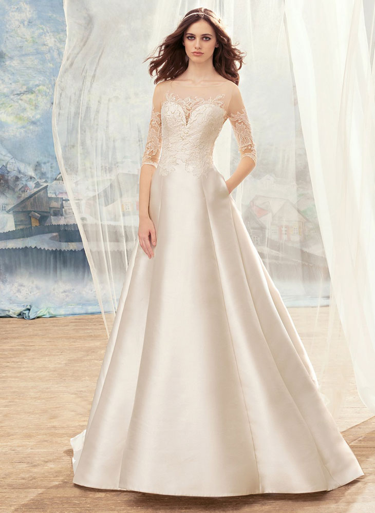 Style #1714L, illusion neckline mikado A-line wedding dress with 3/4 length sleeves and embroidered top, available in ivory