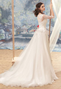 Style #1716L, tulle A-line wedding gown with illusion lace sleeves and beaded bodice, available in white-ivory