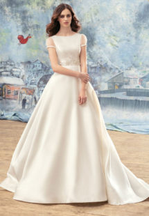 Style #1718L, sheer short sleeve Mikado ball gown wedding dress with embroidery around the waist, available in ivory