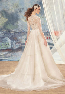 Style #1720L, beaded lace ball gown wedding dress with 3/4 length illusion sleeves and tiered skirt, available in ivory