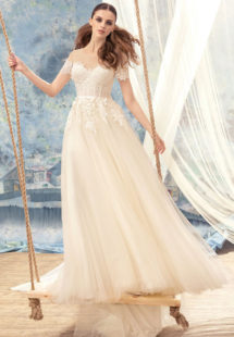 Style #1721L, off the shoulder sleeve tulle and lace a-line wedding dress, available in white, cream