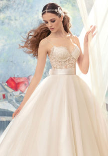 Style #1723L, beaded lace bustier bodice ball gown wedding dress with tulle skirt and satin bow belt, available in ivory (with ivory cup - photo), ivory (with nude cup)