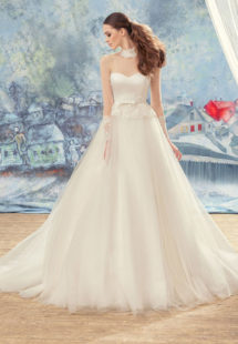 Style #1724L, tulle ball gown wedding dress with illusion sleeves and sweetheart bodice, available in ivory