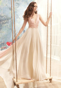 Style #1726L, plunging neckline chiffon A-line wedding dress with beaded lace belt, available in ivory (belt with pink décor), cream-pink
