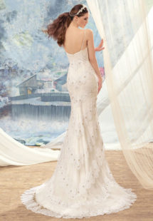 Style #1728L, spaghetti strap mermaid wedding dress with tired beaded lace decor, available in white-ivory