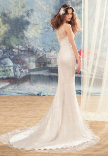 Style #1730L, sheath wedding dress with lace and flower décor and illusion back, available in cream