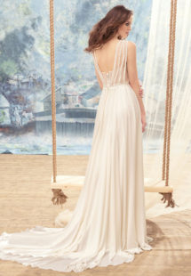 Style #1731L, chiffon sheath wedding dress with bustier corset and beaded lace bodice detail, available in ivory