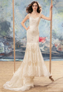 Style #1732L, mermaid wedding dress with tiered lace skirt and cap sleeves, available in ivory