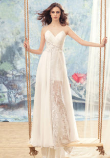 Style #1735La, spaghetti strap sheath wedding dress features illusion back, short lining skirt with lace and chiffon floor-length overlay, available in white-ivory