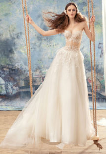 Style #1737L, ball gown wedding dress with sheer lace bustier bodice and tulle skirt, available in ivory (with ivory bodice ), ivory (with nude bodice)