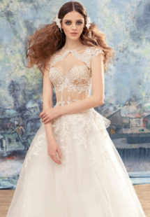 Style #1737L, ball gown wedding dress with sheer lace bustier bodice and tulle skirt; comes with a cap sleeve lace bolero, available in ivory (with ivory bodice ), ivory (with nude bodice)