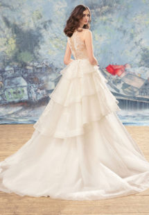 Style #1739, ball gown with tulle tiered skirt and lace bodice, available in ivory (with nude bodice), ivory