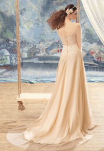 Style #1740L, nude sheath wedding dress with sheer lace bodice details, available in ivory, nude (photo)