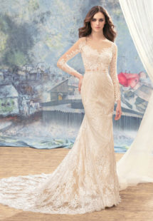 Style #1741Lb, fitted lace wedding dress with sheer bodice and sleeves, available in cream (light lining), dark ivory (photo)