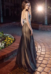 Style #200, spaghetti straps fit and flare evening gown with handmade embroidery on top, available in black, gold and ivory
