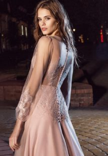 Style #201, illusion back evening dress with sheer long sleeves and lace embroidery, available in pink-ivory, ivory and black