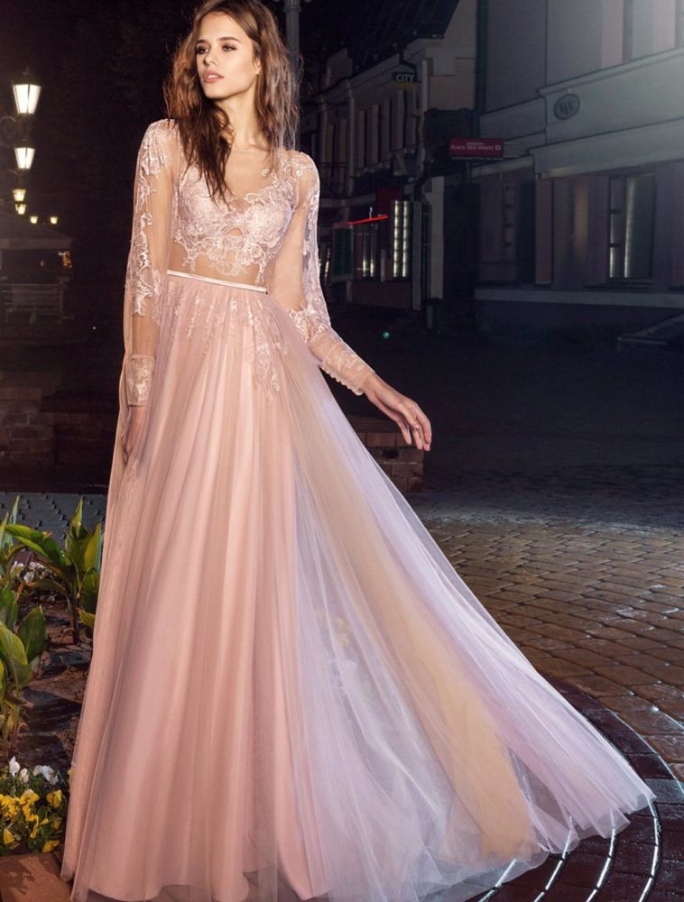 Style #202, open V back evening dress with sheer long sleeves and lace embroidery, available in pink-ivory, ivory-nude and black