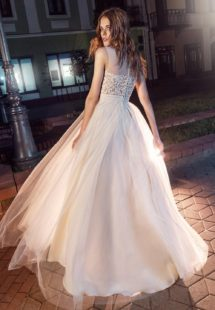 Style #204, flowy tulle overlay silk gown with embroidery illusion neckline, available in black-white, cream and white