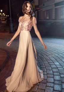 Style #205, sheath chiffon gown with embroidered illusion overlay on top, available in nude-pink