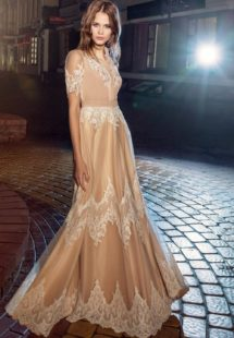 Style #206, button up sheath gown with cap sleeves and lace embroidery, available in ivory, nude