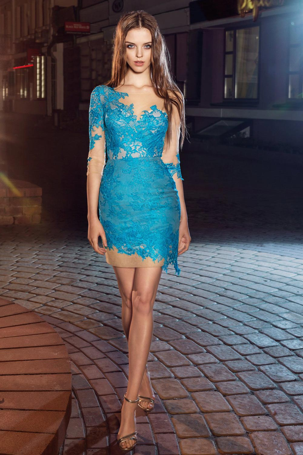 Style #207, short fitted lace dress with illusion 3/4 sleeves, available in pink-ivory, ivory, black, cool blue