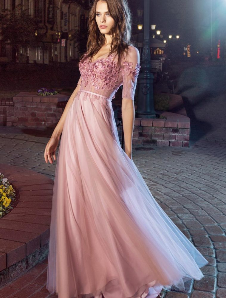 Style #208, cap sleeve evening dress with illusion neckline and flower embroidery on top, available in pink-ivory, black, ivory, nude, white, crimson