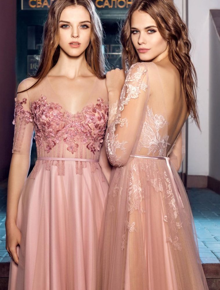 Style #208, cap sleeve evening dress with illusion neckline and flower embroidery on top, available in pink-ivory, black, ivory, nude, white, crimson. Style #202, open V back evening dress with sheer long sleeves and lace embroidery, available in pink-ivory, ivory-nude and black