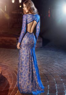Style #210, fitted long sleeve lace evening gown with front slit, keyhole neckline and open back, available in cornflower-blue, nude, dark green