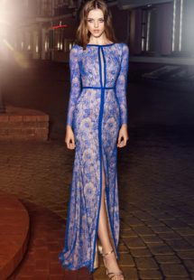 2019 prom, fitted long sleeve lace evening gown with front slit, keyhole neckline and open back, available in cornflower-blue, nude, dark green