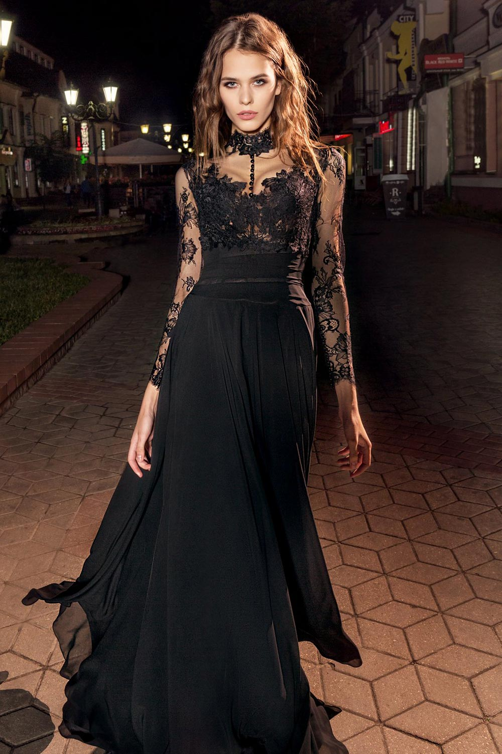2019 prom, long sleeve maxi dress features illusion button up high neckline and flowy chiffon skirt, available in pink-ivory, ivory, black, orange, cool blue