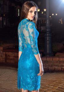 Style #212, knee length lace cocktail dress features hign neckline, 3/4 sleeves and illusion button up back, available in cool blue (photo), ivory, black on nude lining, orange on nude lining, black-pink