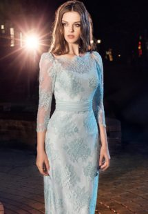 Style #214, knee length fitted cocktail dress with illusion neckline and 3/4 lace sleeves, available in light mint