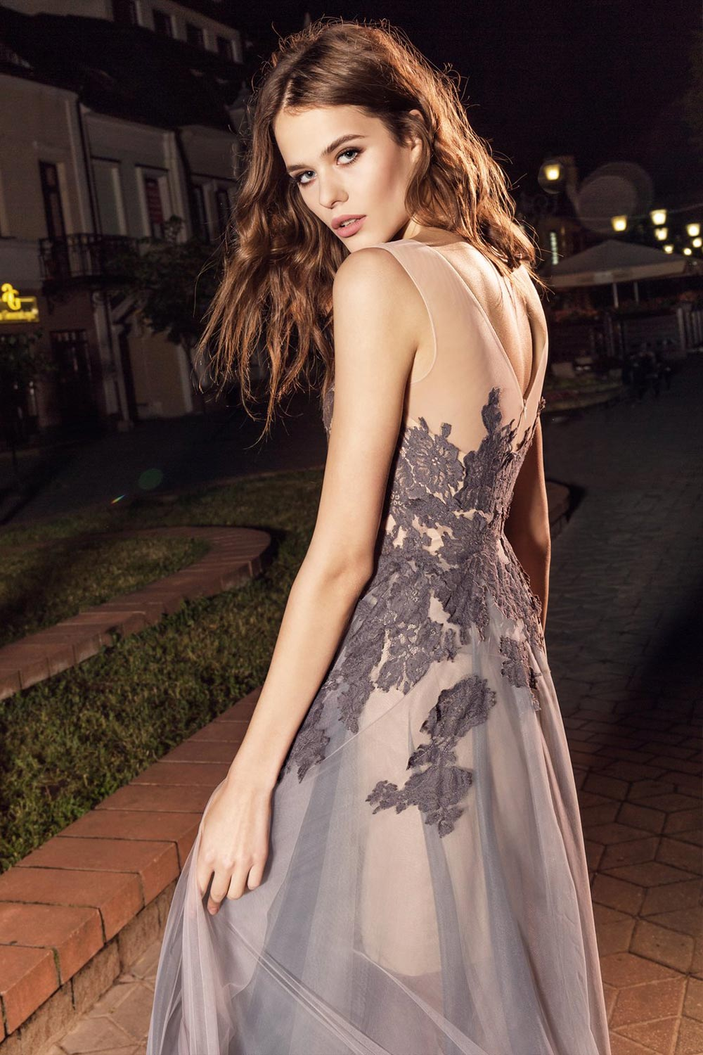 2019 prom, sleeveless illusion neckline evening gown with lace embroidery and tulle overlay skirt on top of the short lining skirt, available in ivory, ivory on nude lining, black, brown-pink
