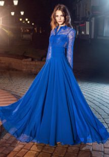 Style #220, long sleeve evening gown features lace button up top with a floor length flowy skirt, available in cornflower-blue, nude, dark green