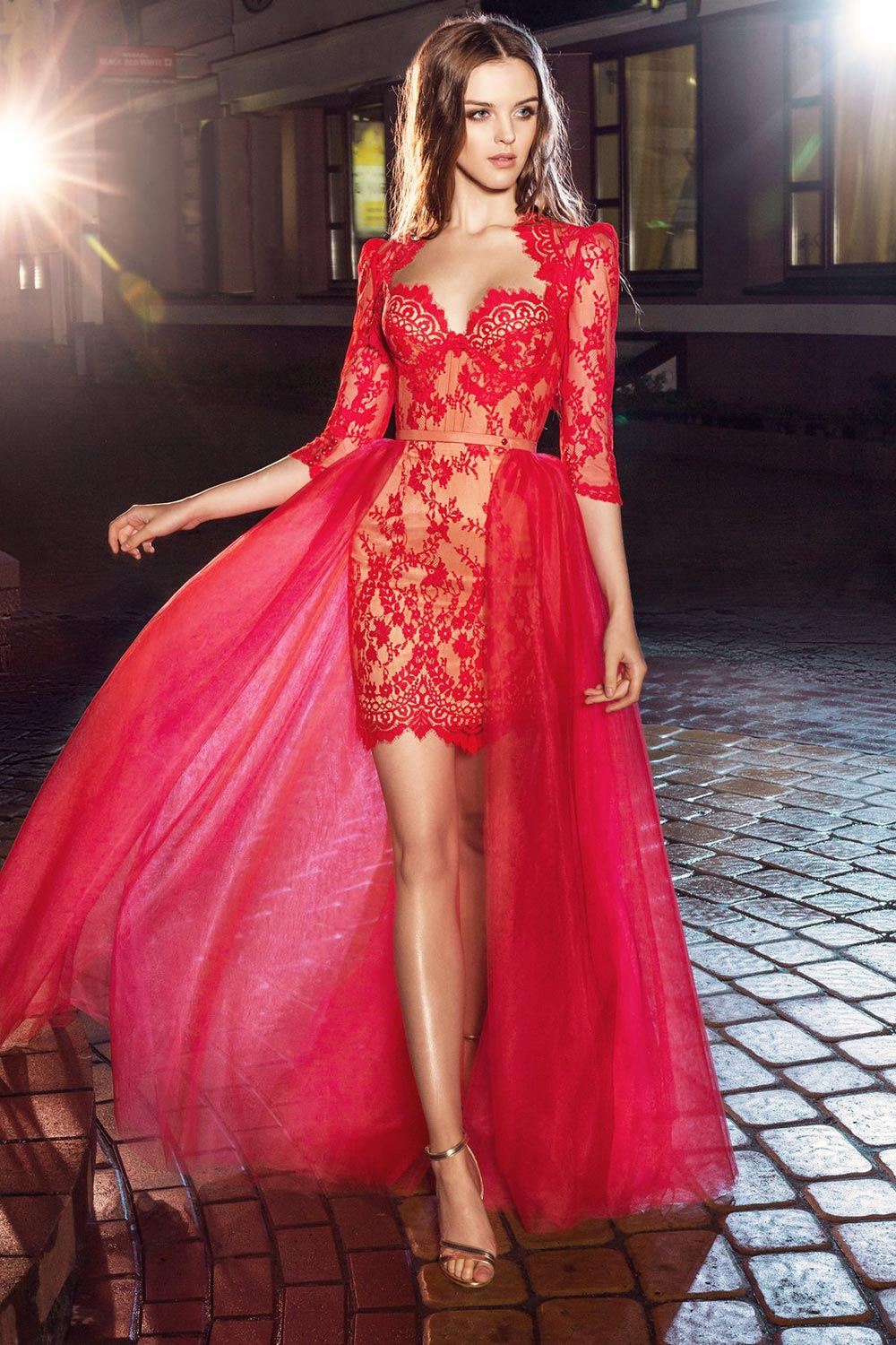 2019 prom, short fitted lace cocktail dress with bustier top, comes with long or short sleeves bolero and detachable tulle skirt, available in red, light green, ivory