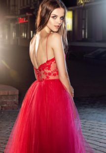 Style #223, bustier lace top with long or midi tulle skirt, ball gown style, available in red and milk