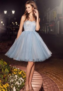 Style #226a, strapless A-line cocktail dress with short pleated tulle skirt and flower embroidery, available in cornflower-blue, nude, salmon, turquoise, sky-blue, cool blue, grey, crimson, red, coral, ivory, green and ivory-salmon