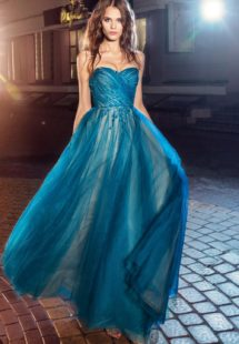 Style #226c, strapless A-line evening dress with maxi pleated tulle skirt and flower embroidery, available in cornflower-blue, nude, salmon, turquoise, sky-blue, cool blue, grey, crimson, red, coral, ivory, green and ivory-salmon