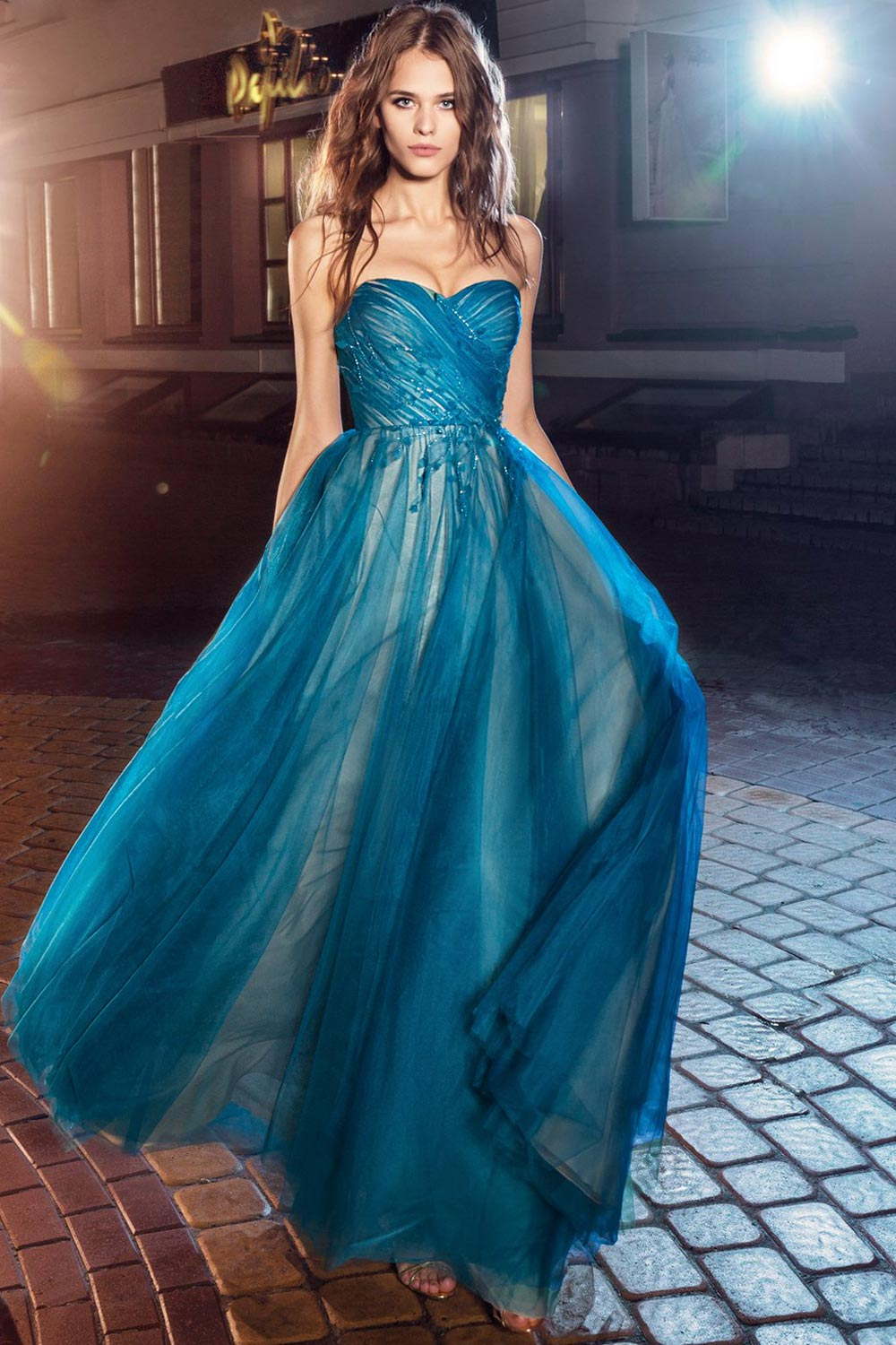 2019 prom, strapless A-line evening dress with maxi pleated tulle skirt and flower embroidery, available in cornflower-blue, nude, salmon, turquoise, sky-blue, cool blue, grey, crimson, red, coral, ivory, green and ivory-salmon