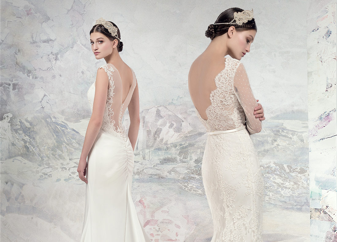 Lace back wedding dress in Toronto Papilio