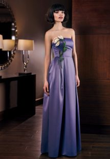Style #300, strapless sheath style evening gown with handmade 3-D flower décor and side pockets, available in tanzanite, gray, black, purple and eggplant
