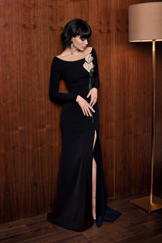 Style #305, long sleeve evening dress with illusion scoop neck, 3-D flower decor, and side slit on the skirt, available in black, coffee, blue, ivory, green, red, powder and cornflower blue