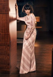 Style #306, long sleeve floor length evening dress with a silk top and patterned lace skirt, available in coffee