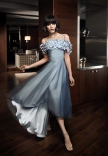 Style #312, hi-low cocktail dress features cold shoulder, illusion neckline with 3-D floral embroidery, available in gray-blue