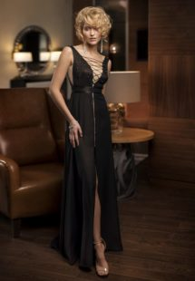 Style #313, lace-up deep v-neck evening dress with embroidery and front slit on the skirt, available in black and ivory