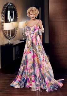 Style #314, spaghetti strap cold shoulder maxi dress with ruffled top, available in multi colored floral print