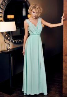 Style #325, simple a-line evening gown with empire waistline, front slit, and embroidery down the surplice neckline, available in light-green, powder, cream, black and peach