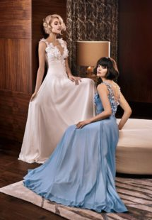 Style #326, illusion V-neck evening dress with floral embroidery down the top, available in gray-blue and ivory