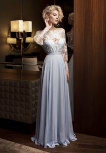 Style #327, long sleeve evening gown with illusion plunging neckline and simple chiffon skirt, available in sky-blue and ivory