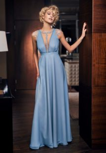 Style #329, embroidered cap sleeve evening dress with deep plunging neckline and beading decor, available in nude, mint, sky blue, turquoise, corn flower blue, red, purple, black, white, ivory, pink, peach,berry, powder, grey, green, yellow, light green, blue-grey